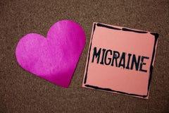 Migraine des textes d'écriture de Word Concept d'affaires pour le mal de tête récurrent dans un côté de nausée principale et de s Photo stock