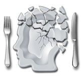 Migraine Headache. And burnout medical and mental health concept or emotional breakdown symbol as a place setting with a broken plate as psychological icon as a Stock Images