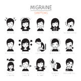 Migraine Symptoms Icons Set, Monochrome stock illustration