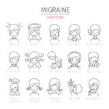 Migraine Symptoms Outline Icons Set Stock Photography