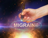 Migraine. Writing word Migraine with marker on gradient background made in 2d software Royalty Free Stock Image