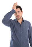 Migraine: young manager with headache in blue shirt isolated on Royalty Free Stock Photo