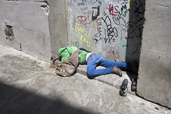 Migrant in Barcelona, Spain Royalty Free Stock Photos