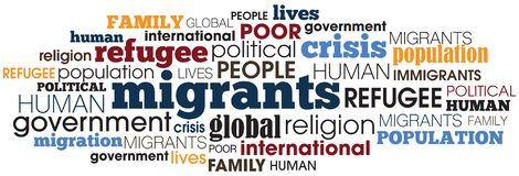 Migrant concept word collage illustration. Migrant crisis concept words collage illustration with different typo and colors royalty free illustration