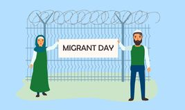 Migrant day concept banner, flat style stock illustration