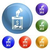 Migrant help money charity icons set vector vector illustration