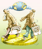 Migrant. Two men walking on a coin with suitcases which have the shape of a head and a belly Royalty Free Stock Photos