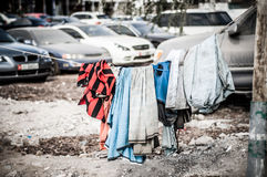 Migrant workers washing line, Abu Dhabi Stock Photography