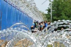 Migranten vom Mittlere Osten, der an der ungarischen Grenze wartet Stockfoto