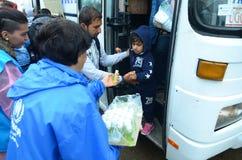 Migranter från Syrien på regnet Royaltyfria Foton