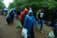 Migranter från Syrien på regnet Arkivfoton