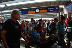 Migrants arriving at Munich Central Station Royalty Free Stock Photo