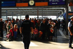 Migrants arriving at Munich Central Station Royalty Free Stock Images