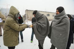 Migrants in Belgrade during winter Royalty Free Stock Photography