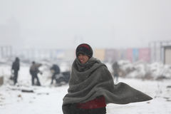 Migrants in Belgrade during winter Stock Photos