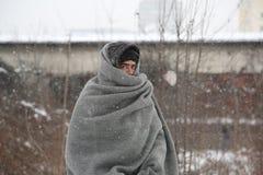 Migrants in Belgrade during winter Royalty Free Stock Photo