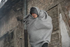 Migrants in Belgrade during winter Stock Images