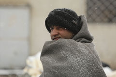 Migrants in Belgrade during winter Royalty Free Stock Image