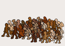 Migrants in group Stock Image