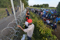 Migrants from Middle East waiting at hungarian border Stock Photography