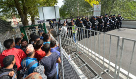 Migrants from Middle East waiting at hungarian border Stock Image