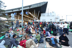 Migrants at slovenian border Royalty Free Stock Images