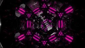 Migrar através de um túnel infinito abstrato de anéis roxo-pretos Vídeo 3D dado laços em 4K vídeos de arquivo