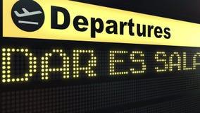 Migrar a Dar es Salaam na placa das partidas do aeroporto internacional Viagem à rendição 3D conceptual de Tanzânia Imagens de Stock
