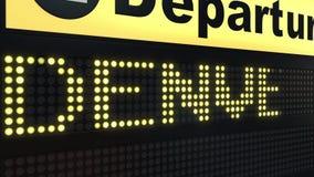 Migrar a Denver na placa das partidas do aeroporto internacional Viagem à animação conceptual da introdução do Estados Unidos ilustração stock