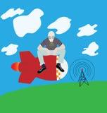 Migrar na bomba de foguete em uma máscara de gás sobre a torre de rádio Ilustração Stock