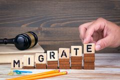 Migrate concept. Wooden letters on the office desk, informative and communication background.  Stock Photo