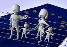 Migratie aan het concept van Europa - crisis in Europees Stock Afbeeldingen