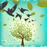 Migrating birds. And tree vector Royalty Free Stock Photos