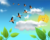 Migrating birds flying on the sky. Vector landscape with migrating birds flying on the sky Royalty Free Stock Photos