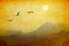 Migrating birds at sunrise Royalty Free Stock Photos