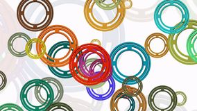 Migrating rings in various colors on white stock footage