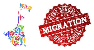 Migration Collage of Mosaic Map of West Bengal State and Distress Seal royalty free illustration
