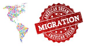 Migration Composition of Mosaic Map of South and North America and Distress Seal stock illustration