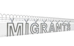 Migration crisis concept. Migrants refugees migration crisis concept. Metal wire fence with barbed wire in the form of word as symbol of acute migration crisis Stock Images