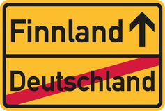 Migration from germany to Finland - german town sign. Vector Stock Images