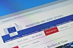 Migration and Home Affairs - European Commission. SARANSK, RUSSIA - FEBRUARY 15, 2017: A computer screen shows details of Migration and Home Affairs - European stock photo