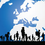 Migration people with map in background illustration Royalty Free Stock Photography