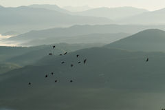 Migration. Sunrise in Monte San Giovanni in Sabina Royalty Free Stock Image
