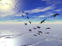 Migration of swallows Royalty Free Stock Photos