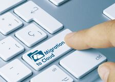 Free Migration To Cloud - Inscription On Blue Keyboard Key Royalty Free Stock Images - 183453459