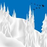 Migration von Gänsen über Snowy-Landschaft lizenzfreie stockfotografie