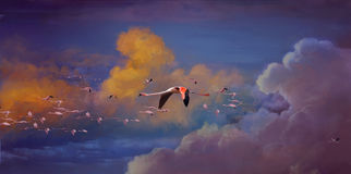 Migratory. Flamingos,Digital painting by photoshop cs6 Royalty Free Stock Image