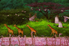 Migratory. Flamingos,Digital painting by photoshop cs6 Royalty Free Stock Photography