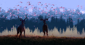 Migratory. Flamingos,Digital painting by photoshop cs6 Royalty Free Stock Photo