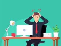Migrena Biznesmen pracuje w biurze Płaska ilustracja w kreskówka stylu royalty ilustracja
